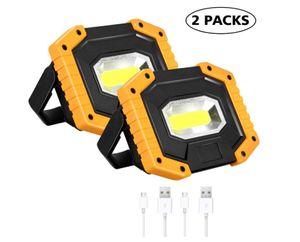 30W LED Arbeitsstrahler,  Baustrahler Akku tragbares wasserdichter Arbeitslicht mit 3 Lichtmodi für Baustelle Garage Werkstatt(2 pack)