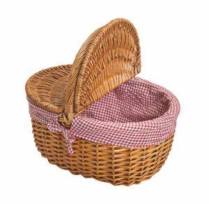 Picknickkorb mit Deckel aus Weide - rot/weißer Stoff