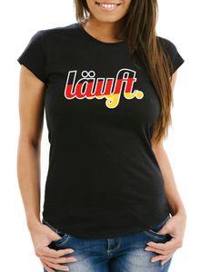 Damen WM-Shirt Läuft - Deutschland Fußball Fan-Shirt schwarz S