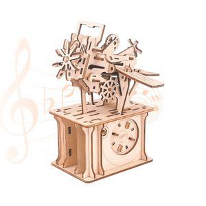 3D Holzpuzzle Spieluhr mit Fotorahmen Schlitz Raumschiff Mechanische Modellbausätze DIY Montage Spielzeug Basteln Geburtstage Weihnachtsferien Geschenk für Erwachsene Teenager Studenten