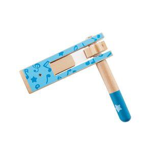 Hape E0611 Holzratsche hellblau, kleine Knatter für Kleinkinder