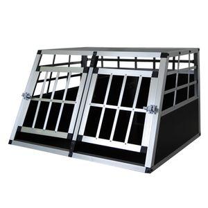 Hundebox Hunde Alu Auto Tranportbox Groß XXL Aluminium Kofferraum Transport Box für Hund Dog Autobox 89x50x69 cm Haustier Reisen Van Kombi PKW Käfig Petigi