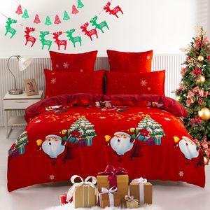 Weihnachten Bettwäsche 155x220cm Cartoon Weihnachtsmann Hirsch Rot Bettwäsche Set für Jungen Mädchen Kinder Schneeflocke Glocken