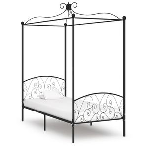 HochwertigerⒿ Himmelbett-Gestell komfortabel 90×200 cm/Einzelbettgestell/Polsterbet 1 Platz/Jugendbett für Schlafzimmer Schwarz Metall 90 x 200 cm☋ 3708