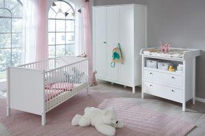 Babyzimmer Ole komplett Set 3-teilig Landhaus weiß mit Wickelkommode Babybett und Kleiderschrank