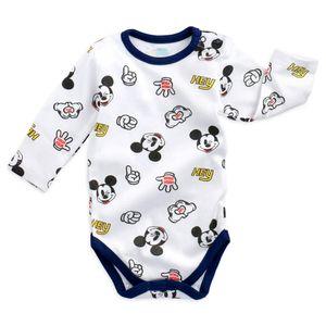 Disney Baby Langarm Body Jungen weiß Mickey Mouse 80 (9-12 Monate)
