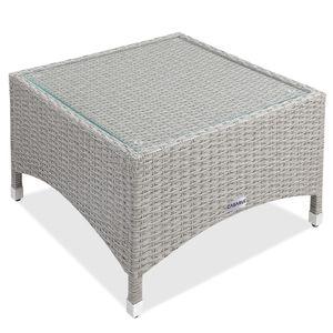 Casaria Poly Rattan Gartentisch Beistelltisch Balkontisch Gartenmöbel Tisch mit Glasplatte, Größe:M2 - 58x58x42cm