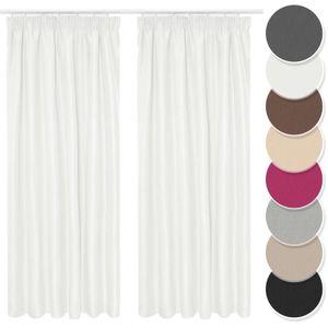 Melody Vorhang 2er Set Gardine Curtain Blickdicht Kräuselband weiss 140x245 cm fertig konfektioniert #9018