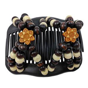 Haarspange mit Holzperlen, doppelte Haarklammer Haarkamm dehnbar Doppelkamm mit Gummi für Damen Styling-Zubehör Haarschmuck