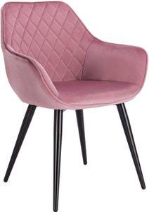 WOLTU Esszimmerstühle BH153rs-1 1x Küchenstuhl Wohnzimmerstuhl Polsterstuhl mit Armlehen Design Stuhl Samt Metall Rosa