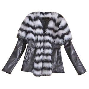 Trendy Damen Leder Reißverschluss Jacke Slim Biker Motorrad Mantel Punk Outwear Größe:XXL,Farbe:Grau