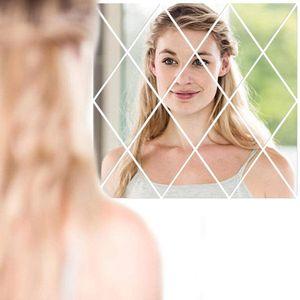 17 Stück Spiegelfliesen Wandspiegel Selbstklebend Spiegel Acryl Wandaufkleber für Badezimmer, Küche, Wohnzimmer