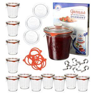 12er Set Weck Sturzgläser 290ml hoch, 1/5L Gläser mit Glasdeckel, Einkochringe + Klammern