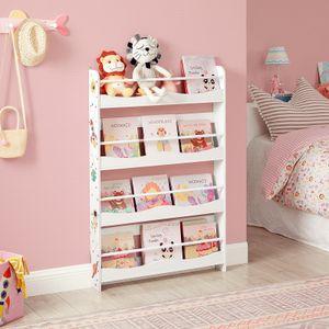 SONGMICS Bücherregal für Kinder, Wandregal, Bücher-Organizer mit 4 Ablagen platzsparend, weiß GKR050W01