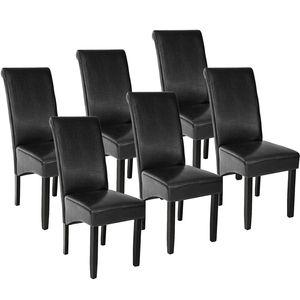 tectake 6 Esszimmerstühle, ergonomisch, massives Hartholz - schwarz