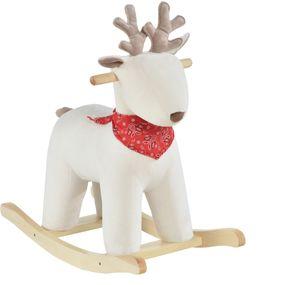 HOMCOM Kinder Schaukelpferd Baby Schaukeltier Hirsch mit Tiergeräusche Spielzeug Haltegriffe für 36-72 Monate Plüsch Weiß 68 x 29 x 58 cm