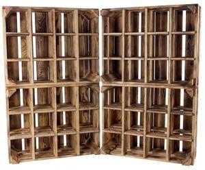 4x GEFLAMMTES WEINREGAL HOLZ mit 12 Fächern / NEU / 50x40x23 cm / Spirituosen, Flaschenregal