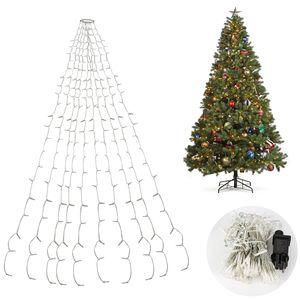 VINGO LED Baummantel Lichterkette mit Ring, 10 Straenge 280 LEDs, Christbaumbeleuchtung LED Lichternetz Warmweiss fuer ca. 150 - 250 cm Weihnachtsbaum