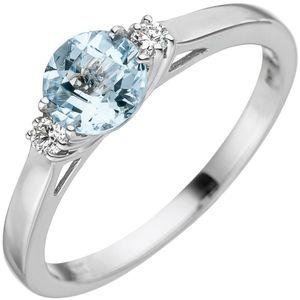 JOBO Damen Ring 54mm 585 Weißgold 1 Aquamarin hellblau blau 2 Diamanten Brillanten