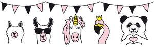 Lovely Kids selbstklebende Kinderzimmer Bordüre Wild Party rosa weiß schwarz 5,00 m x 0,155 m