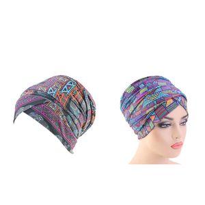 2Pcs Frauen Baumwolle Bandana Elastic Turban Beanie Chemo Haarausfall Hüte