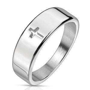 viva adorno Gr. 62 (19,7 mm Ø) Damenring Herrenring Fingerring Edelstahl Silber christliches Kreuz schlicht RS53
