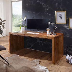 WOHNLING Schreibtisch BOHA Massiv-Holz Sheesham Computertisch 180 cm breit Echtholz Design Ablage Büro-Tisch Landhaus-Stil