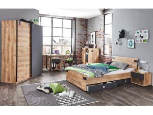 Jugendzimmer 110771 Liverpool in Plankeneiche mit Absetzungen in Graphit