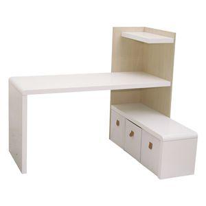 Prana - Schreibtisch-Lowboard-Kombi, Eckschreibtisch, Ecklösung, abgerundete Kanten, weiss hochglanz