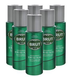 6 x Brut Original Deospray je 200ml pflegt und erfrischt for men