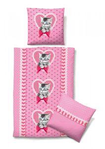 Biberna Linon-Kinderbettwäsche l Katzen-Motiv l 135x200cm l  Pink