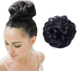 S-noilite Hair Extensions Haarverlängerung Haargummi Hochsteckfrisuren Dutt VOLUMINÖS wie Echthaar Schwarz