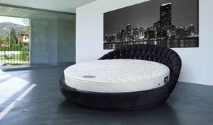 Casa Padrino Luxus Rundbett mit Glitzersteinen Schwarz Ø 240 x H. 90 cm - Rundes Doppelbett - Luxus Schlafzimmer Möbel