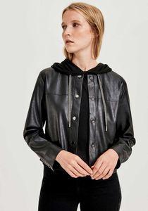 OPUS Hilo Kurz-Jacke rockige Damen Biker-Jacke aus Kunstleder Schwarz, Größe:40