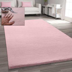 Fellteppich Kunstfell Teppich Imitat in Rose Dicht Flauschig Seidiger Glanz, Maße:Ø 120 cm Rund