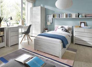 Jugendzimmer Set 6-teilig weißeiche mit Bett & Bettschubkasten