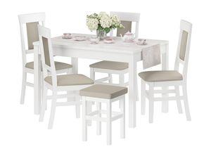 Gepolsterter Massivholz-Stuhl Küchenstuhl Esszimmerstuhl in taupe V-90.71-25WP03, Menge:Doppelpack