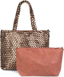 styleBREAKER XXL Wendetasche in Flecht-Optik, Shopper Tasche, 2 Taschen, Handtaschen Set, Bag in Bag, Schultertasche, Damen 02012163, Farbe:Rose / Gold
