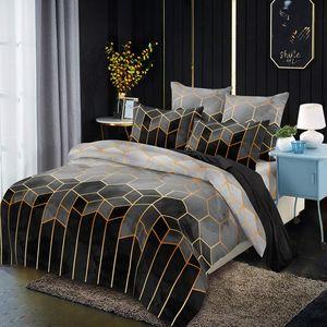 Bettwäsche 200x200cm Grau Geometrische Kariert Marmor Modern Mikrofaser Bettbezug mit Kissenbezug 80x80cm
