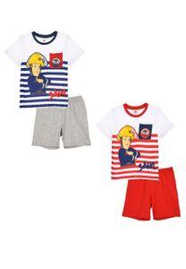 Feuerwehrmann Sam Schlafanzug Shorty Kinder Pyjama Kurzarm 2 tlg. für Jungen, Farbe:Rot, Größe:98