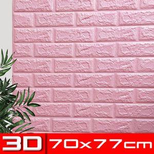 1 Set (10 Stk)große 3D wasserdichte Fliesen Ziegel Wand Aufkleber selbstklebende Schaum Panel 70x77cm