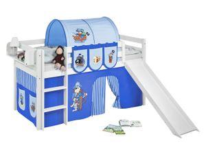 Lilokids Spielbett JELLE Pirat Blau Blau - Hochbett - weiß - mit Rutsche und Vorhang - Maße: 113 cm x 208 cm x 98 cm; JELLE3054KWR-PIRAT-BLAU-S