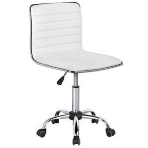 Yaheetech Rollhocker  schreibtischstuhl  Drehstuhl  Bürostuhl höhenverstellbar Weiß