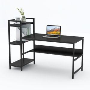 Dripex 136x60x111cm Holz Schreibtisch mit Ablage für Home Office (Schwarz)