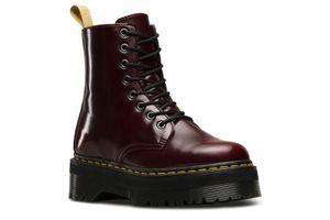 Dr. Martens Jadon II Vegan Cherry Red Oxford Rub Off Damen Boots Stiefel Schuhe Rot, Größe:38