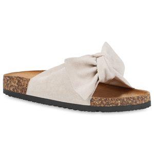 Mytrendshoe Damen Sandalen Pantoletten Sommer Schlappen Hausschuhe 833538, Farbe: Creme, Größe: 39