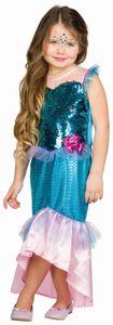 Kinder Kostüm Meerjungfrau Nixe, Kleid mit Wendepailletten, Größe:128