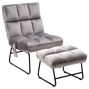 MCombo Relaxsessel Fernsehensessel Loungesessel Sessel-Hocker-Set Samt-Stoffbezug