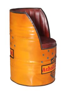 SIT Möbel Sessel aus recyceltem Ölfass, in gelb B55 cm x T90 x H55 cm|01054-61|Serie THIS & THAT