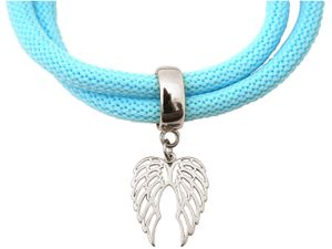 Damen Armband Wickelarmband 925 Silber Flügel Blau